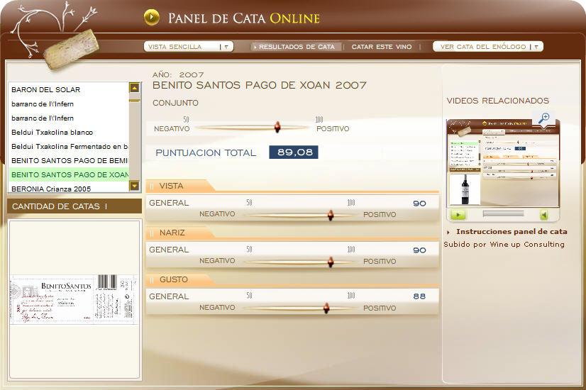 imagen de la cata en el panel de catas online de www.ecatas.com