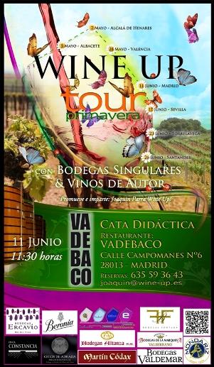 Cartel de la cata en Vadebaco Madrid