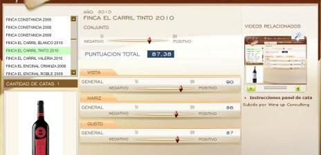 FINCA EL CARRIL TINTO 2010 - 87.38 PUNTOS EN WWW.ECATAS.COM POR JOAQUIN PARRA WINE UP
